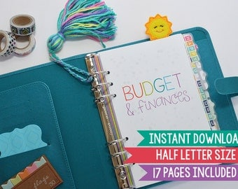 50% OFF Printable Budget Planner, Half Letter Size, 17 Pages Included