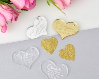 "50x Engraved Acrylic ""Heart"" Christening Gift Tags"