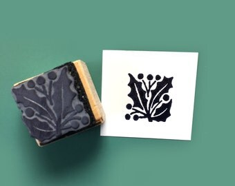 Holly Leaf Rubber Stamp
