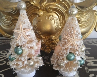Set of 2 vintage Shell bottle brush trees with ornaments