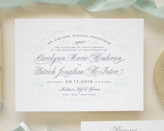 Navy Letterpress Wedding Invitation on Thick Paper with Edge Painting, Typographic Wedding Invitations | DEPOSIT | Sophisticate