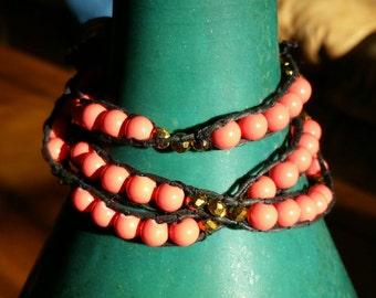 3 Layer Wrap-around Peach and Gold Bracelet