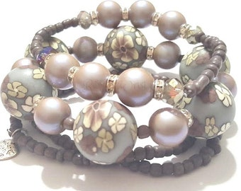 Grey,Purple, Beaded Bracelet Stack,Gray,  Set, Minimalist, Boho, Stretchy, Womens Bracelets, Custom Handmade Beaded Jewelry