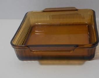 Vintage Amber Brown Glass Brownie Pan Glass brownie Dish Square Glass Casserole Pan With Basket  Fire King baking dish  glass lasagna pan