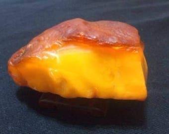 Antique 100% Natural Baltic Amber Stone 54 gr. Egg Yolk Butterscotch