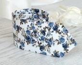 White Floral Dusk Blue Tie  Light Blue Men's Necktie  Floral Air Force Blue skinny tie  Wedding Ties  Necktie for Men FREE GIFT