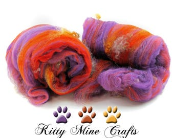One of a Kind Purple Orange Art Batts made from Merino Wool, Teeswater Locks, & Angelina - 2.3oz - Spinning Supplies - Felting - Carded Wool