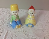 Dutch Boy and Girl Salt and Pepper Shakers Japan Porcelain Salt and Peper Shakers