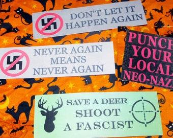 Anti-Racist - Anti-Fascist - Anti-Nazi Stickers - ANTIFA - Punch All Nazis - Yes I Mean All Nazis