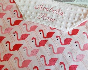 pink flamingo blanket. Nursery, new baby, christening gift custom made