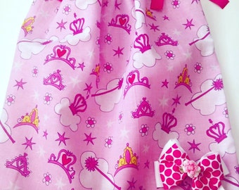 Pink  Pillow Case Dress, Princess Tiara Dresses For Girls ,Pillow Case Dresses For Toddlers, Girl's Summer Dresses, Girls Spring Dresses