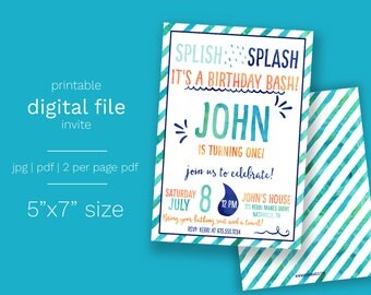 Boy Splash Water Birthday Invitation - Digital File Splash Pad Party Summer Birthday Pool Party Water Theme Splish Splash Summertime Party