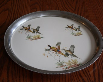 Vintage Revere Pewter Tray with Ceramic Insert- Featuring Pheasants
