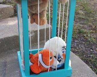 My Zoo Stuffed animal/toy storage Organization Wooden Holder kids toy holder Stuffed Animal Zoo Keeper