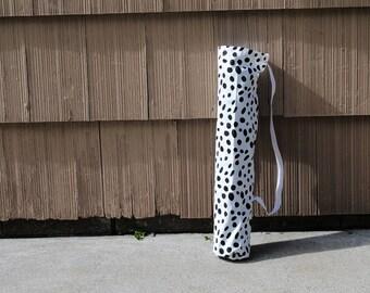 Yoga Mat Bag Yoga Tote Fitness Mat Tote Pilates Bag Dalmation Spots Black White Polka Dots