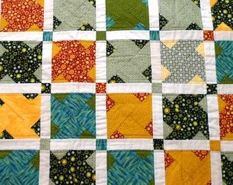 Woodland color Baby Quilt, handmade patchwork lap blanket, orange green blue quilted, Julie Paschkis cotton fabric, Washington Shop Hop 2010
