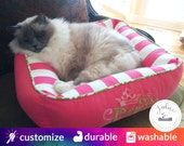 Princess Cat Bed or Princess Dog Bed |  Pink, Chartreuse & White | Washable, Reversible, High Quality