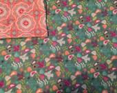 Large Baby Blanket, Swaddle, Reversible, Teal, Coral, Birds, Receiving Blanket, Baby Girl, OOAK, Geometric Print, Baby Shower Gift