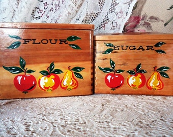 Set of Four Wooden, Mid Century Canisters, Flour, Sugar, Coffee, Tea, Fruit and Vegetable Theme, Great Condition!