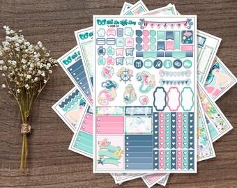 Summer Nautical Beach Mermaid Weekly Sticker Kit // 5 Page Planner Stickers // Erin Condren, Happy Planner, Recollections, Plum Paper
