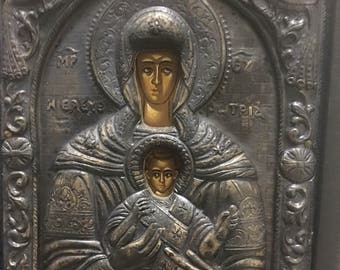 Vintage Religious Icon Mary and Child Jesus Made Of Pure Silver 950 Degrees Proof Copy Of Byzantine Art