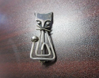 Sterling Silver Cat Pin Brooch