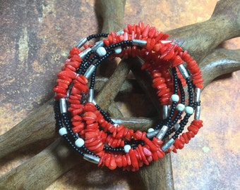 three in one, Red Coral wrapped bracelet, Necklace, Anklet