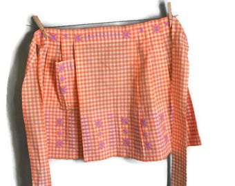 Vintage Orange and White Gingham Check half apron with Purple Embroidery and Pocket Rustic Wedding Decor