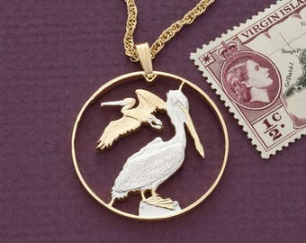 """Pelican Pendant & Necklace, British Virgin Islands 50 Cents Hand Cut Coin, 14K and Rhodium Plated 1 1/4"""" in Diameter ( # 47 )"""