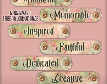 Digital Floral Plaques Word Art - Art Journaling Mixed Media Word Art - Digital Scrapbooking Journaling Embellishments - Junk Journal Words