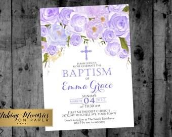 Purple Floral Baptism Invitation, lavender Watercolor, lavender  Roses Baptism, Christening, Dedication ,First Communion. Girl Baptism