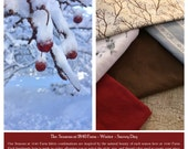 Snowy Day - The Seasons at 1840 Farm Collection - Winter - Made to Order Handmade Fabric Baskets, Trivets, and Mason Jar Sets