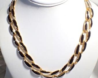 NAPIER Pat. Pend. Black Enamel on Gold Tone Metal Link Necklace