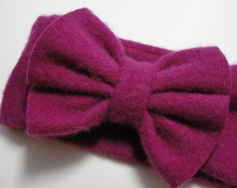 Upcycled Dark Pink Cashmere Earwarmer Headband with Bow