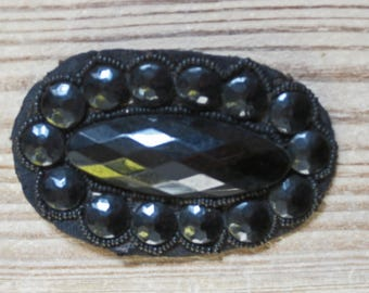 French jet beaded applique - antique sewing supplies