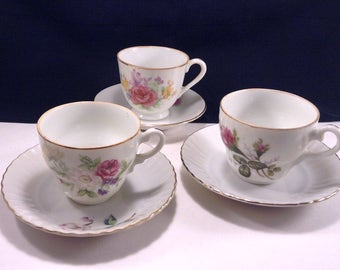 Three Demi-Tasse Cups & Saucers/Made in Japan/Floral Motif/Excellent Condition/Demi Tasse Cups/Hand Painted Cups/Mini Teacups/Cup Collection