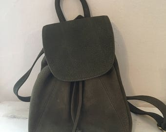 Vintage Olive Green suede Coach Backpack