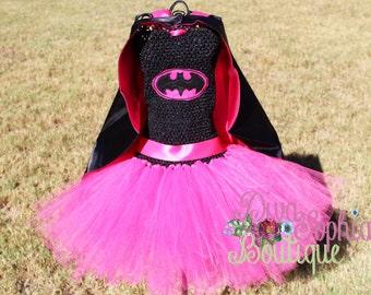Batman Tutu Dress with Cape / Batgirl Tutu Dress/ Hot Pink Costume
