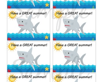 INSTANT Download Have a great summer - Cards Tags End of School year - (8) Printable Notes kids cards