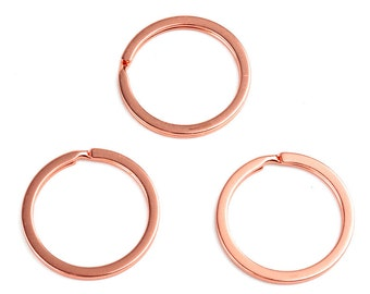 10 piece key rings, rose gold 32 mm