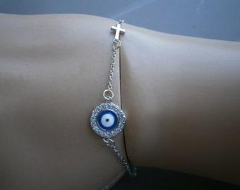 STAINLESS STEEL Evil Eye Silver Tone cross & Swarofski glass bead Bracelet Beads blue Greek Charm Nazar Mati Turkish Greece hamsa Judaica