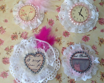 Set of Four Shabby Chic Embellishments, Vintage. Graphics in Lacey Frames, Brooch and Hair Clip Decorations, Shabby Chic Decor