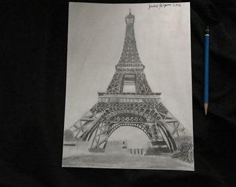 Original Art, Eiffel Tower Custom Handmade Drawing by artist Jordan Kimpton