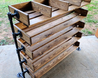 Handmade Reclaimed Cubbies Wood Shoe Stand / Rack / Organizer with Pipe Stand Legs