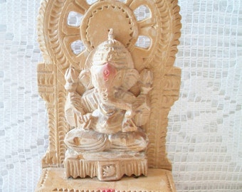 Carved Wood Ganesha Sculpture Elephant Ganesh Hindu Deity God