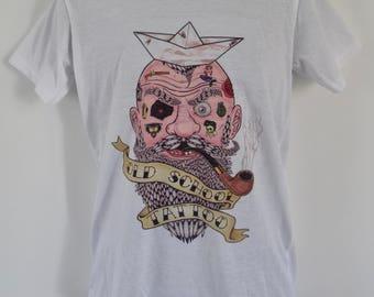 Men's Old School Tattoo Sailor T-Shirt - Pirate Alternative Vintage Nautical Anchor  - UK S M L
