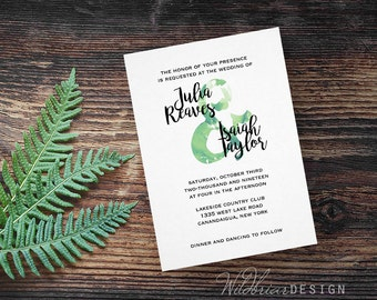Watercolor Printable Wedding Invitation, Ampersand Green Blue Painted Script Calligraphy Names DIY; custom colors available