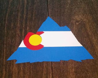 Colorado Mountains Flag Decal *FREE SHIPPING* For A Yeti, Laptop, Car Window ~ Waterproof Vinyl