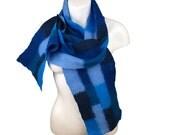 Blue Patchwork Felted Scarf, Merino Wool
