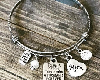 Today a Groom, Tomorrow a Husband, Forever Your Son -  Rhinestone Mom Heart Charm Bangle Bracelet - Wedding Mother of the Groom Gift